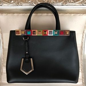Fendi Petite 2jours Studded Black Leather Bag